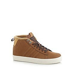 adidas - Tan faux wool trim high top trainers