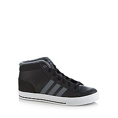 adidas - Black 'BBSkool' faux wool trim high top trainers