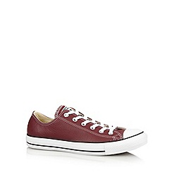 Converse - Dark red leather logo trim trainers