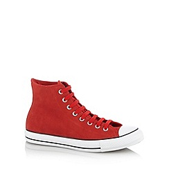 Converse - Red suede hi-top trainers