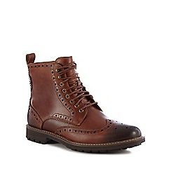 Clarks - Dark brown leather 'Montacute Lord' lace up brogue boots