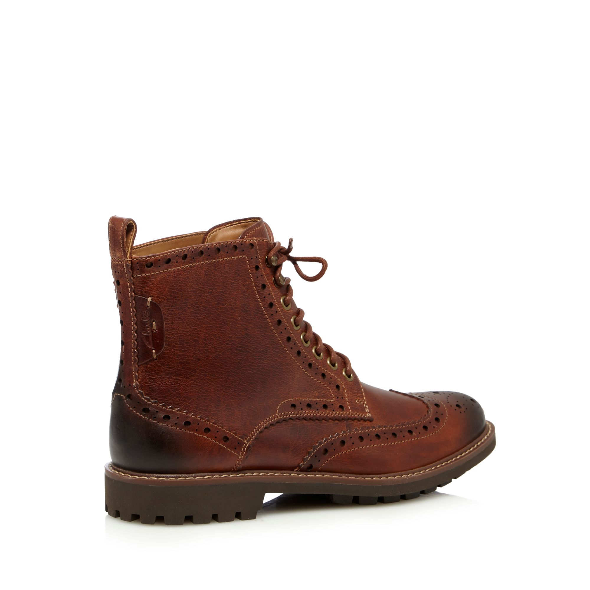 clarks mens brown leather montacute lord brogue boots