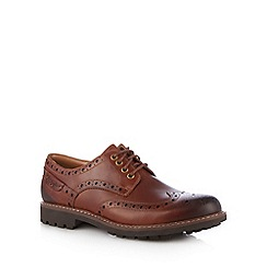 Clarks - Brown leather 'Montacute Wing' shoes