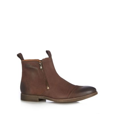 Clarks Brown leather ´Novato´ zip boots - . -