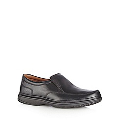 Clarks - Black leather 'Swift step' extra wide slip on shoes