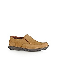 Clarks - Tan nubuck 'Swift step' extra wide slip on shoes