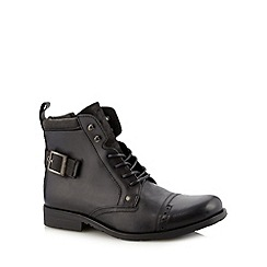 FFP - Black leather buckle trim boots