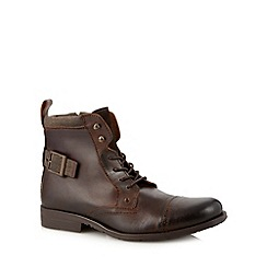 FFP - Chocolate leather buckle trim boots