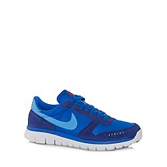 Nike - Blue 'Flex BRS' leather panel trainers
