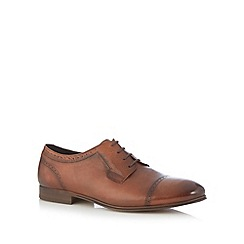 H By Hudson - Tan burnished leather brogue toe cap shoes