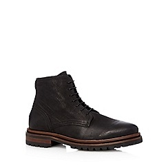 H By Hudson - Black leather lace up boots