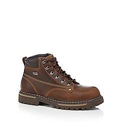 Skechers - Dark brown 'Bully II' leather work boots