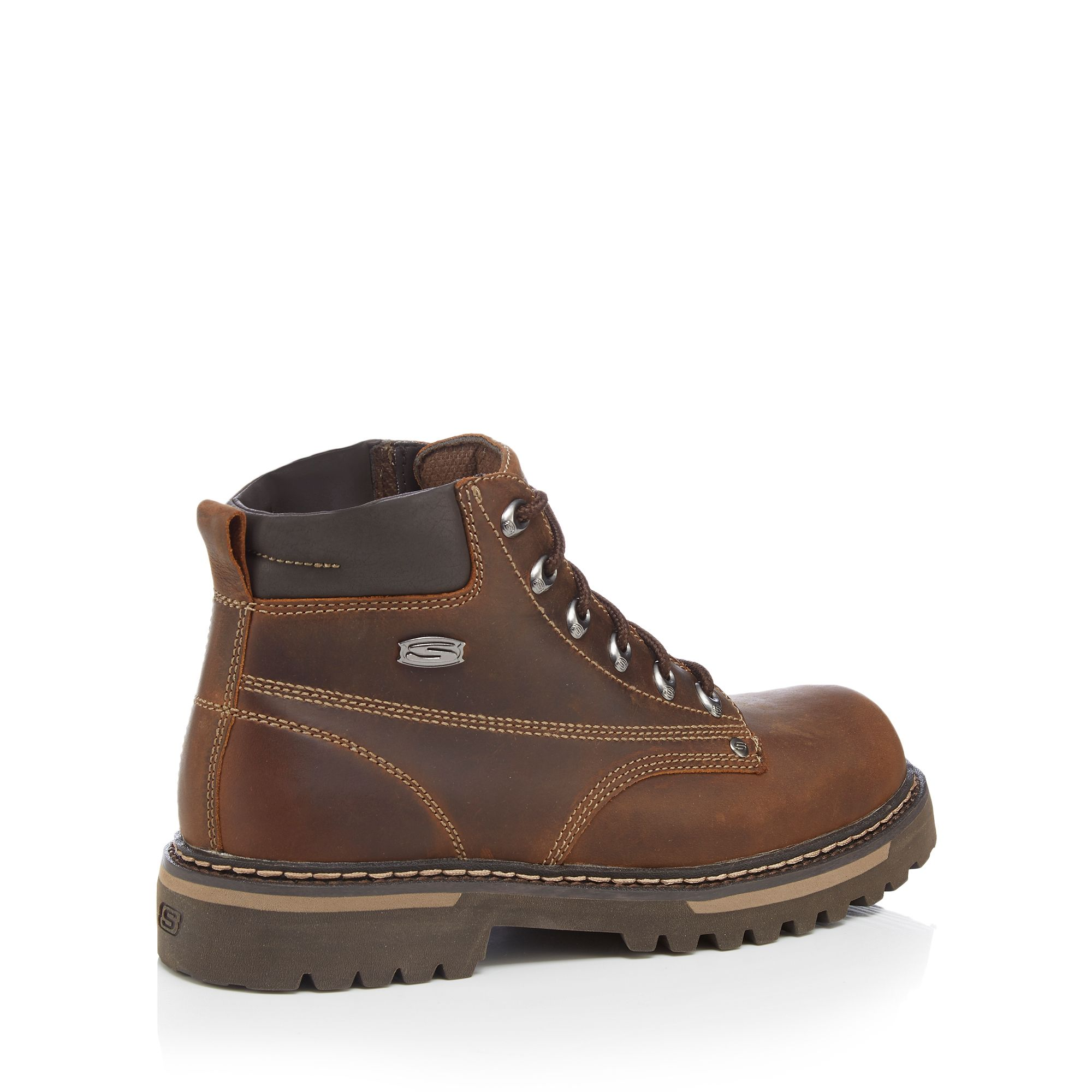 Skechers Brown Leather 'Bully Ii' Lace Up Boots From ...