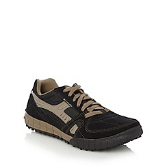Skechers - Big and tall black 'floater' suede panel trainers