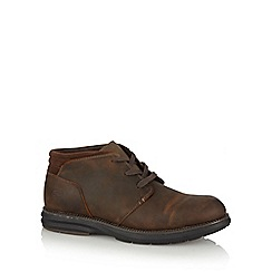 Skechers - Big and tall brown leather mid top lace up boots