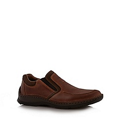 Rieker - Brown leather slip on shoes