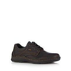 Rieker - Dark brown leather showerproof extra wide fit shoes
