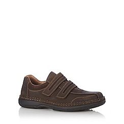 Rieker - Dark brown leather double strap extra wide fit shoes