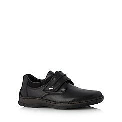 Rieker - Black leather single strap extra wide fit shoes