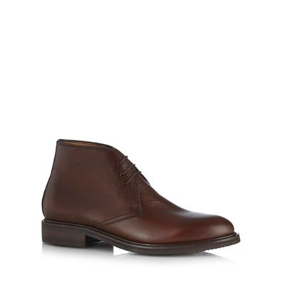 Berwick Brown grained leather chukka boots - . -