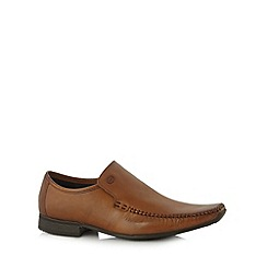 Base London - Tan leather apron toe slip on shoes
