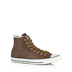 Converse - Chocolate leather shearling lined hi-top trainers
