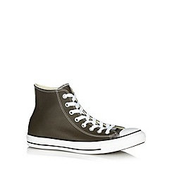 Converse - Olive leather hi-top trainers