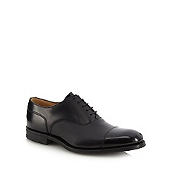 Loake - Black leather seamed toe cap shoes