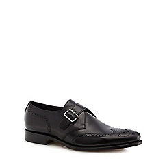 Loake - Black leather monk brogue shoes