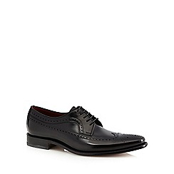 Loake - Black leather contrast lined brogues