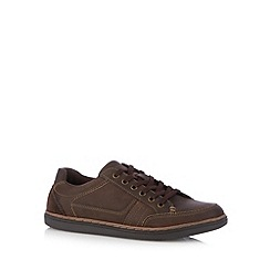 Mantaray - Chocolate leather lace up plimsolls