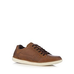 Mantaray - Tan leather lace up plimsolls