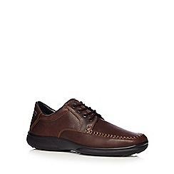 Hotter - Brown leather stitched lace up shoes