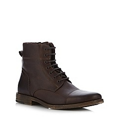 FFP - Chocolate leather seamed toe cap boots