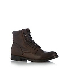 FFP - Tan leather seamed toe cap lace up boots