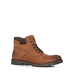 Mantaray - Dark tan leather lace up chukka boots