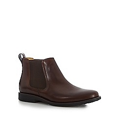 Steptronic - Big and tall dark brown leather chelsea boots