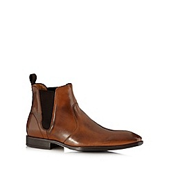 Jeff Banks - Designer tan high shine leather chelsea boots