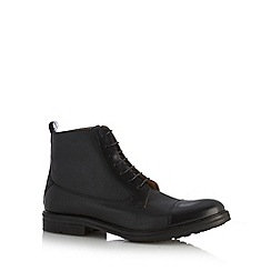 Ben Sherman - Black leather tartan high boots