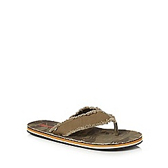 Mantaray - Khaki frayed toe post flip flops