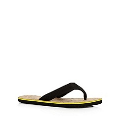 Mantaray - Black canvas toe post flip flops
