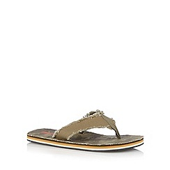 Mantaray - Khaki beach print frayed sandals