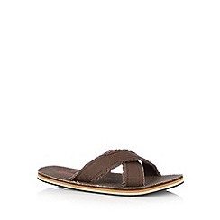 Mantaray - Chocolate tropical print frayed sandals