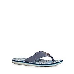 Mantaray - Navy striped canvas toe post flip flops
