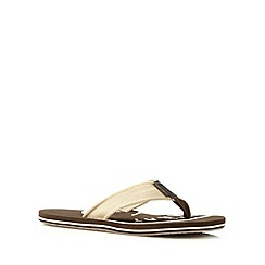 Mantaray - Chocolate canvas logo print sandals