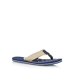 Mantaray - Navy canvas logo print sandals