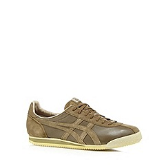 Onitsuka Tiger - Olive leather logo trainers