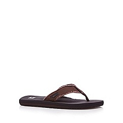 Quiksilver - Brown canvas toe post strap flip flops