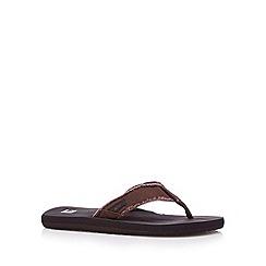 Quiksilver - Brown canvas toe post strap flip flops