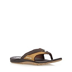 Animal - Dark brown logo toe post flip flops